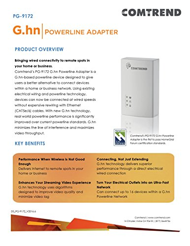 Comtrend G.hn 1200 Mbps Powerline Ethernet Bridge Adapter with WIFI PG-9171n + PG-9172 Combo Kit by Comtrend (Image #5)