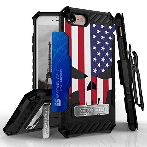 Beyond Cell TriShield Series Compatible with iPhone 8, iPhone 7 Slim Military Grade Shockproof Protection Phone Case with Belt Clip Holster - USA Skull Flag from Bemz Depot