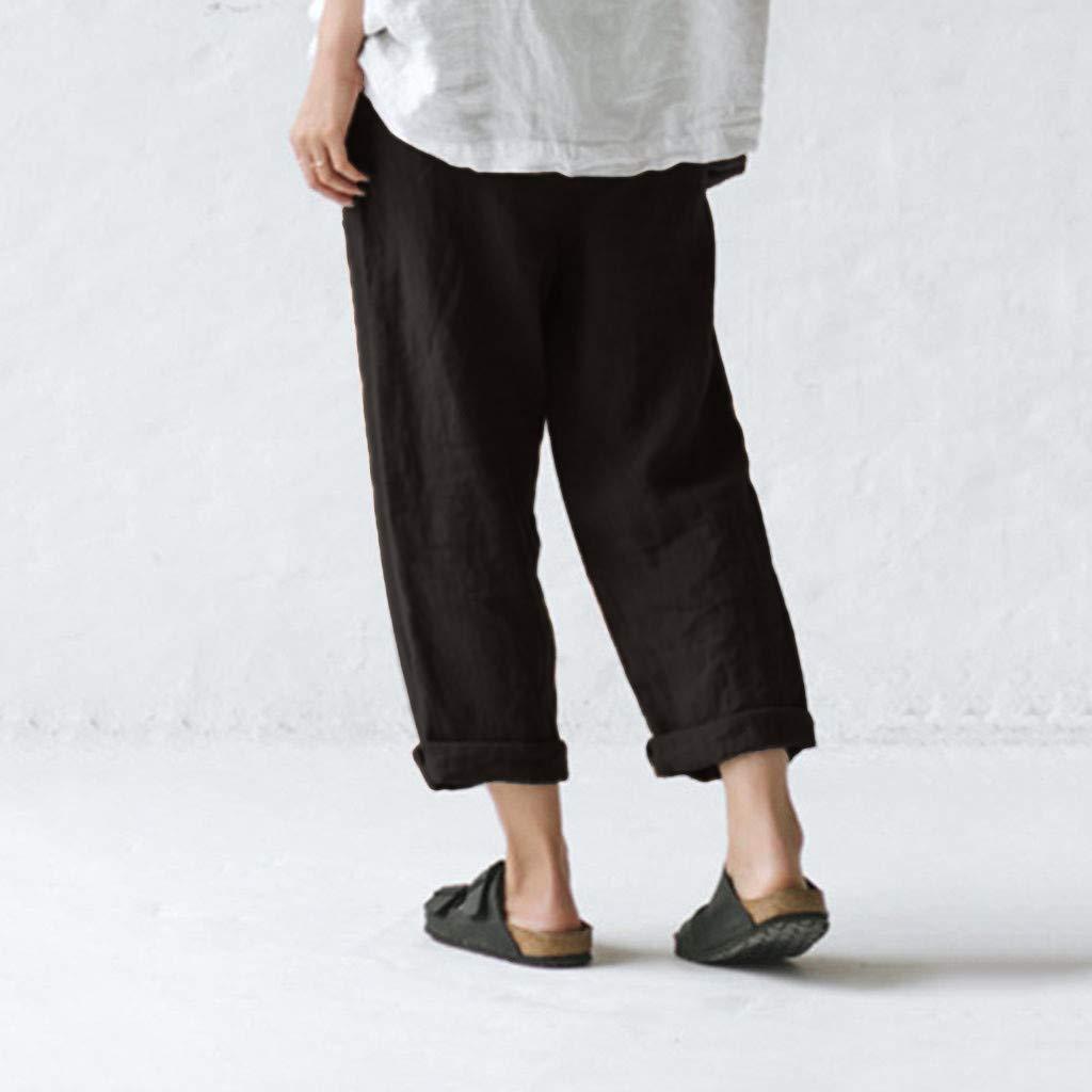Ropa Especializada Risthy Pantalones De Lino Tallas Grandes Holgados Recto Pantalon Largo Mujer Casual Con Botones Ideal Para Verano Ropa Chillmeets Pl
