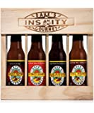 Dave's Gourmet Insanity Super Hot Sauces Wood Crate - Four Pack - 2oz each