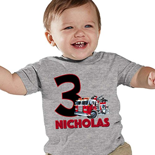 NanyCrafts Personalized Firetruck Birthday Boy Kids Shirts 3Y Heather ()