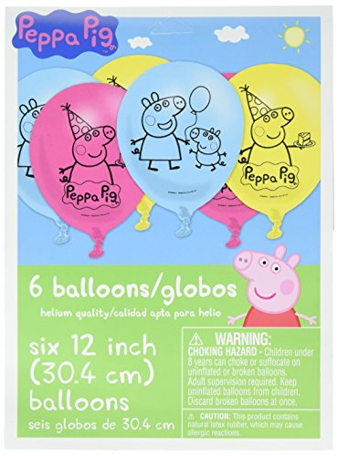 Birthday Printed Latex Balloons (Peppa Pig Birthday Party Printed Latex Balloons Decoration, Pink,Blue and Yellow, 12