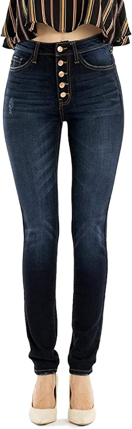 Kan Can Jeans Leary Lexy High Rise Exposed Button Dark Wash Skinny Jeans Kc7113sd 25 At Amazon Women S Jeans Store