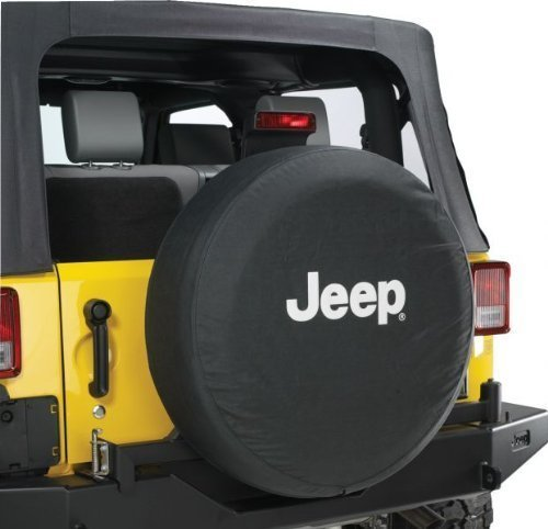 Jeep Wrangler Black Denim W/ Logo Spare Tire Cover 32-33 Inch Mopar OEM (Spare Tire Cover Denim compare prices)