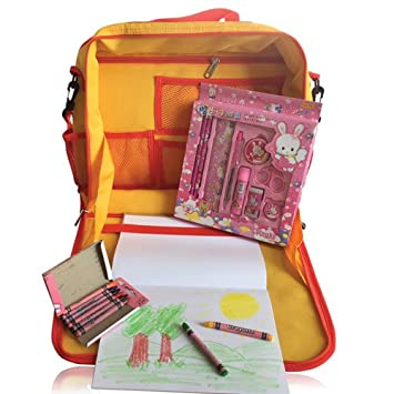 The Original Travel Family Kid's Art Backpack Travel Tray: Kid's Art Tray Complete w/ Art Set, Used with Cars, Trains, &Planes, Used as a Writing Surface or for Electronics for Kids Age 3+