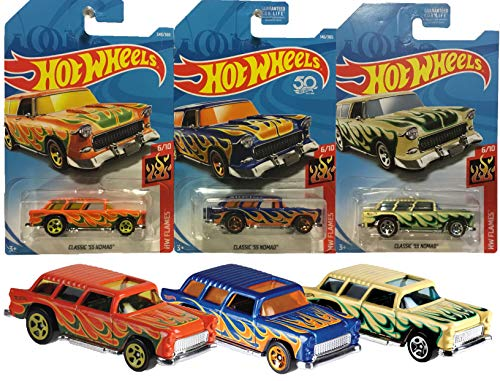 Hot Wheels 2018 50th Anniversary HW Flames 6/10 Classic '55 Nomad 3 Pack Bundle Includes Kmart Exclusive Alternate Color (Rare)