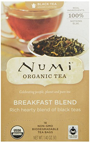 Numi Organic Tea Fair Trade Breakfast Blend, Black Tea Bags, 18 Count