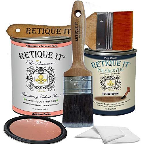 Retique It Chalk Furniture Paint by Renaissance DIY, Poly Kit, 55 Aegean Coral, 32 Ounces