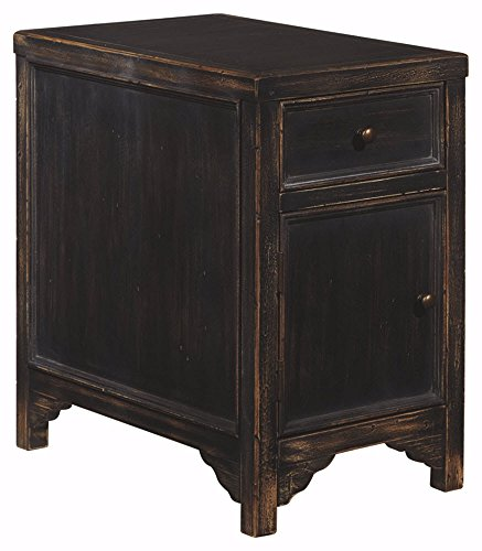 nature Design - Gavelston Chair Side End Table - Rectangular - Rubbed Black Finish (Collection Seven Drawer Dresser)