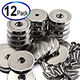 CMS Magnetics Neodymium Cup Magnets with 88 LBS Pulling Power 12 Count Super Value Pack Each - Dia 1.26'' - Matching Strikers and Screws