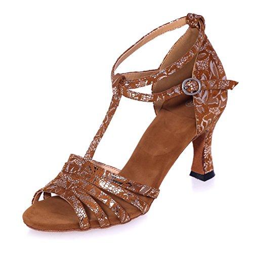 L@YC Zapatos De Baile De Las Mujeres De Cuero artificial Jazz Latin Swing Sandals Ballroom Se Puede Personalizar Brown