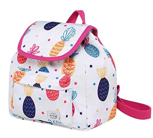 MIETTE Mochila pequeña tipo bolso con solapa | Cabe un iPad Mini | 27x24x12 cm | Flamencos Milenarios D215t, Piña, Colorido