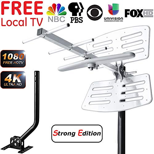 - 【2019 Upgraded】 Outdoor TV Antenna, Amplified Digital HDTV Antenna with Mounting Pole, 150+ Miles Range, Support 2 TVs, Amplifier Signal Booster, 33 FT Coax Cable