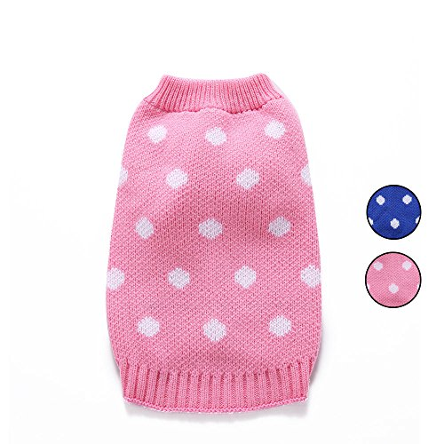 2 Patterns Royal Polka Dot Knitted Dog Sweater, Holiday Knitwear Outerwear Pet Clothes, Outfit Dog Clothes With Rolled Neckline for Small Dogs by HongYH ()