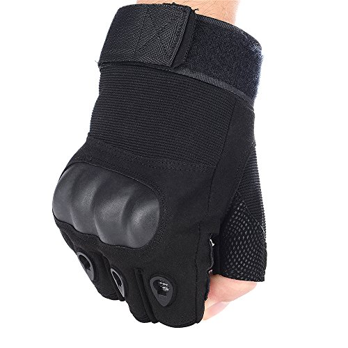Tactical Gloves - Fingerless Hard Rubber Knuckle Outdoor Gloves for Motorcycle Hiking Camping Powersports Combat Training Army Shooting Airsoft Paintball Special Ops (Medium, Black)