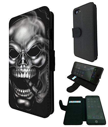 "003117 - Cigar smoking Sugar skull Design iphone 7 plus 5.5"" Book Style Purse Wallet Pouch portefeuille Poche Flip Coque Flip Case Carte de crédit Coque"