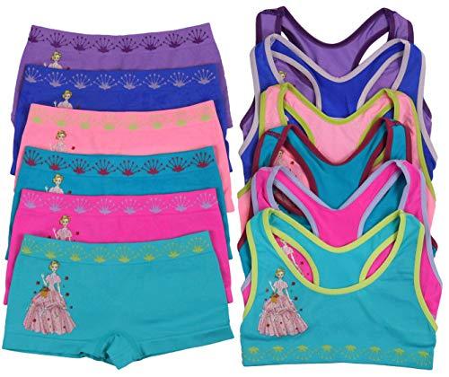 (ToBeInStyle Girl's Pack of 6 Set of Racerback Bras and Boyshorts or Bikinis (Large (Ages 12-14), Royal Dandelion))