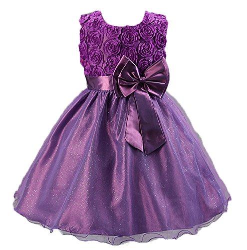 Kids Bridesmaid Wedding Flower Dress 2-8 Years (2, Purple)
