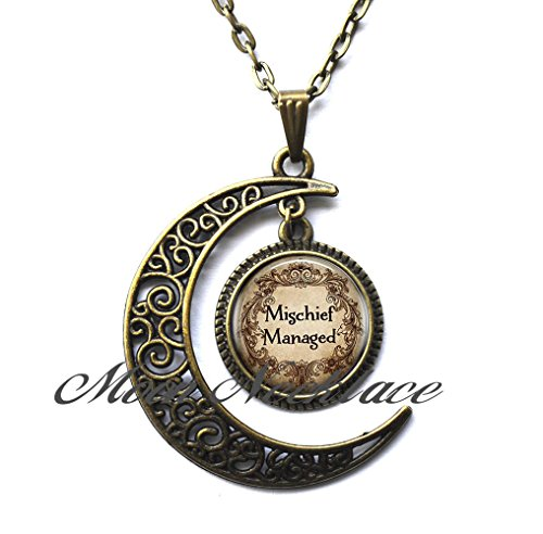 Moon Necklace, Crescent Moon Necklace, Simple Necklace,Mischief Managed Necklace,Birthday gift,quote necklace]()
