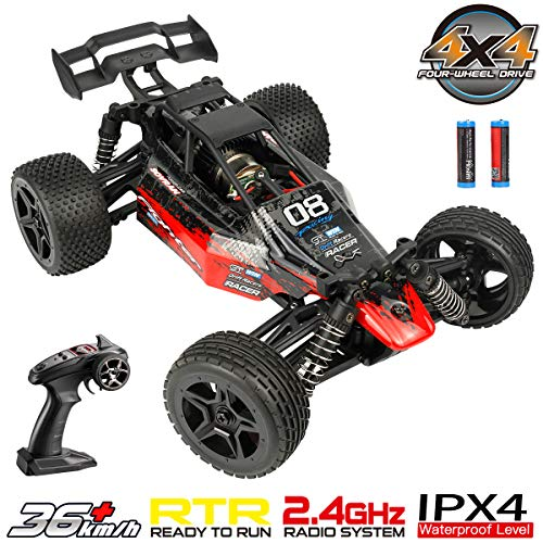 Hosim Radio Remote Control Car High Speed RC Cars 1:16 Scale 4WD 36+ km/h Off Road Buggy Monster Truck, All Terrain Waterproof Electric Drift Toy Trucks for Kids and Adults(Red)