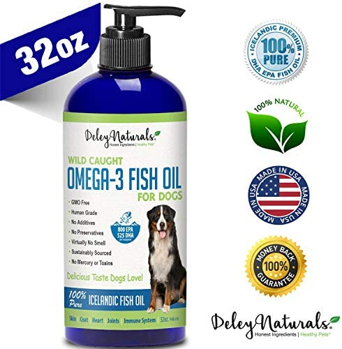 Deley Naturals Wild Caught Fish Oil for Dogs – Omega 3-6-9, GMO Free – Reduces Shedding, Supports Skin, Coat, Joints, Heart, Brain, Immune System – Highest EPA DHA Potency – Only Ingredient is Fish