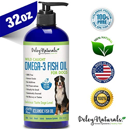 Wild Caught Fish Oil for Dogs – Omega 3-6-9, GMO Free – Reduces Shedding, Supports Skin, Coat, Joints, Heart, Brain, Immune System – Highest EPA & DHA Potency – Only Ingredient is Fish - 32oz