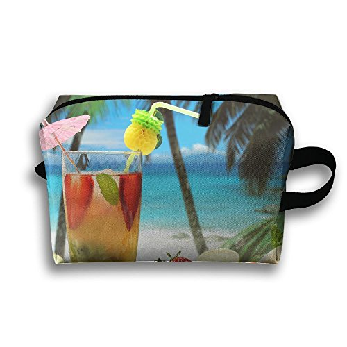 (With Wristlet Cosmetic Bags Fruity Cocktail Brush Pouch Portable Makeup Bag Zipper Wallet Hangbag Carry)