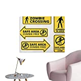 Warm Family Zombie Wall Picture Decoration Safe Area Zombie Free Safe Protection Zone Caution Sign from Horror Movie Design Space Poster Yellow Black W32 xL24
