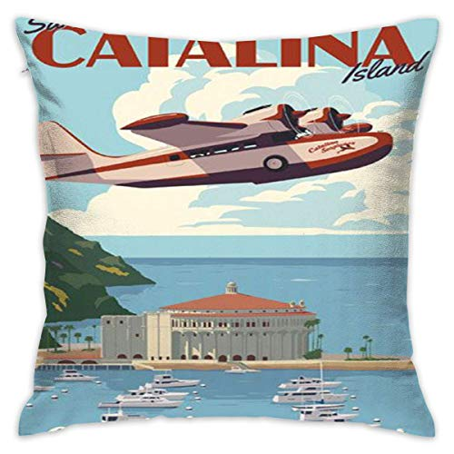 (Decorative Throw Pillow Cover for Couch, Sofa, or Bed 18 x 18 inch Modern Design Soft Cotton [Catalina Island Nostalgic Art Travel Poster])