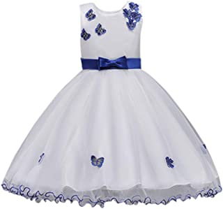 Mbby Vestiti Cerimonia Bambine,3-8 Anni Vestito da Carnevale per Bambina Abiti Principessa in Pizzo Senza Manica Farfalle Tulle Abito Tutu per Ragazza