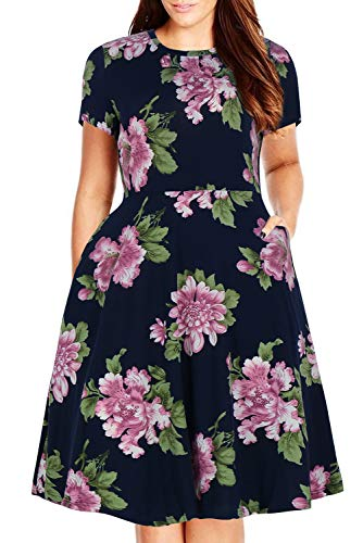 Nemidor Women's Round Neck Summer Casual Plus Size Fit and Flare Midi Dress with Pocket (22W, 188 Purple Flower)]()