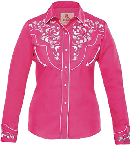 Camisa Vaquera Fitted Floral Fuchsia Long Women's Western Modestone Embroidered Sleeve ZUqRwYF