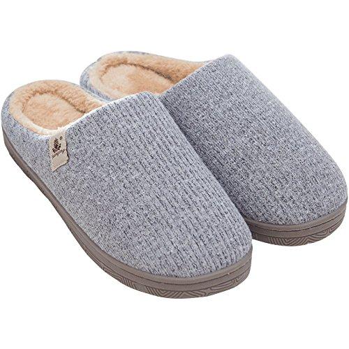 LIGUQI@ les Pantoufles de Coton Des Hommes DHiver avec Des Pantoufles en Peluche Chaudes Et Glissantes à la Maison Couple Féminin Épaissi à la Fin de LHiver,Gris,44/45 verges
