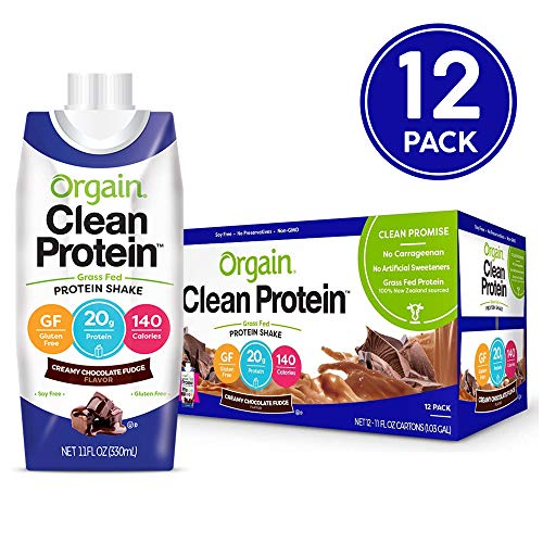 Orgain Grass Fed Clean Protein Shake, Creamy Chocolate Fudge - Meal Replacement, Ready to Drink, Gluten Free, Soy Free, Kosher, Non-GMO, 11 oz, 12 Count (High Protein Low Carb Shakes For Weight Loss)