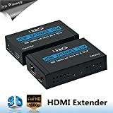 LinkS HDMI Extender Transmitter Receiver Over Single Cat5e/6 Ethernet Cable (Up To 492 Feet) With IR (Full HD 1080P TCP/IP)