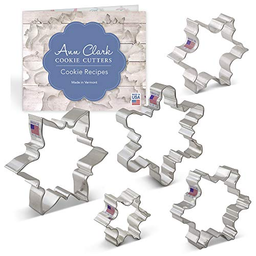 "Ann Clark Cookie Cutters 5-Piece Snowflake Cookie Cutter Set with Recipe Booklet, 3.25"", 3.5"", 4"", 4.25"", 4.5"""
