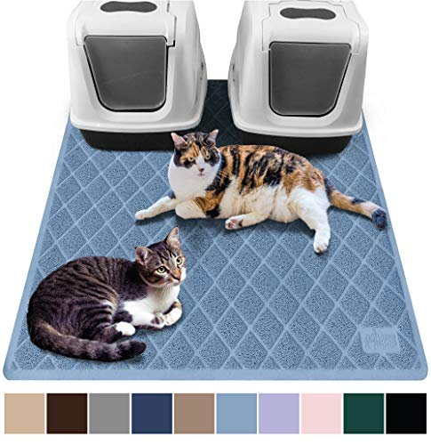 (Gorilla Grip Original Premium Durable Multiple Cat Litter Mat (47x35), XL Jumbo, No Phthalate, Water Resistant, Traps Litter from Box and Cats, Scatter Control, Mats Soft on Kitty Paws (Light)