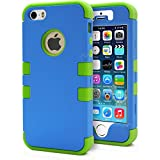 iPhone 5S Case, MagicMobile Hybrid Impact Shockproof Cover Hard Armor Shell and Soft Silicone Skin Layer [ Blue - Green ] with Screen Protector and Pen Stylus