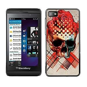 Estuche Cubierta Shell Smartphone estuche protector duro para el teléfono móvil Caso Blackberry Z10 / CECELL Phone case / / Rose Hat Black Skull Red Flower Art /