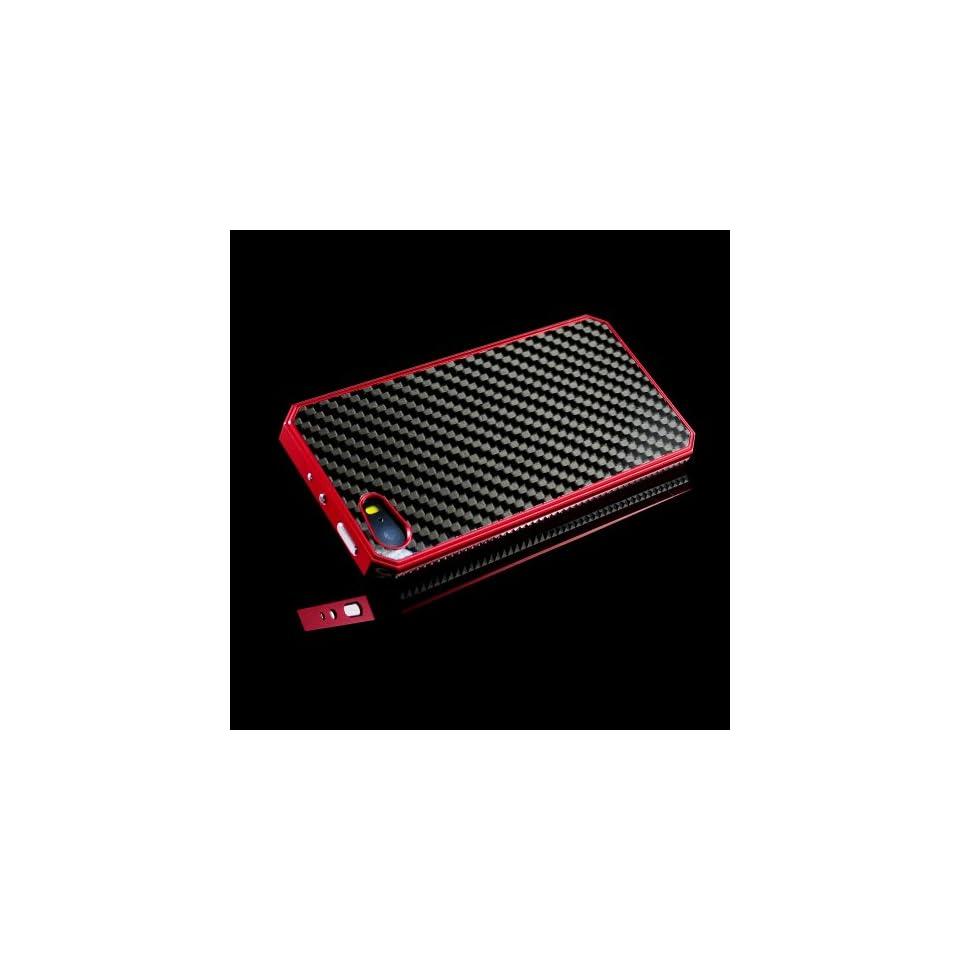 iClover® Top Seller Designed for iPhone 5S carbon fiber case Red Newest Metal Aluminum Carbon Fiber Protective Case Cover for Apple iPhone 5S carbon fibre aluminum case  Ship From US Cell Phones & Accessories