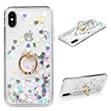 iPhone Xs Case, iPhone X Liquid Glitter Case Ring Kickstand Flowing Moving Hearts Bling Shiny Clear Ultral Slim Shock Absorbtion TPU Bumper Frame PC Shell Drop Resistant Quicksand Cover for iPhone Xs