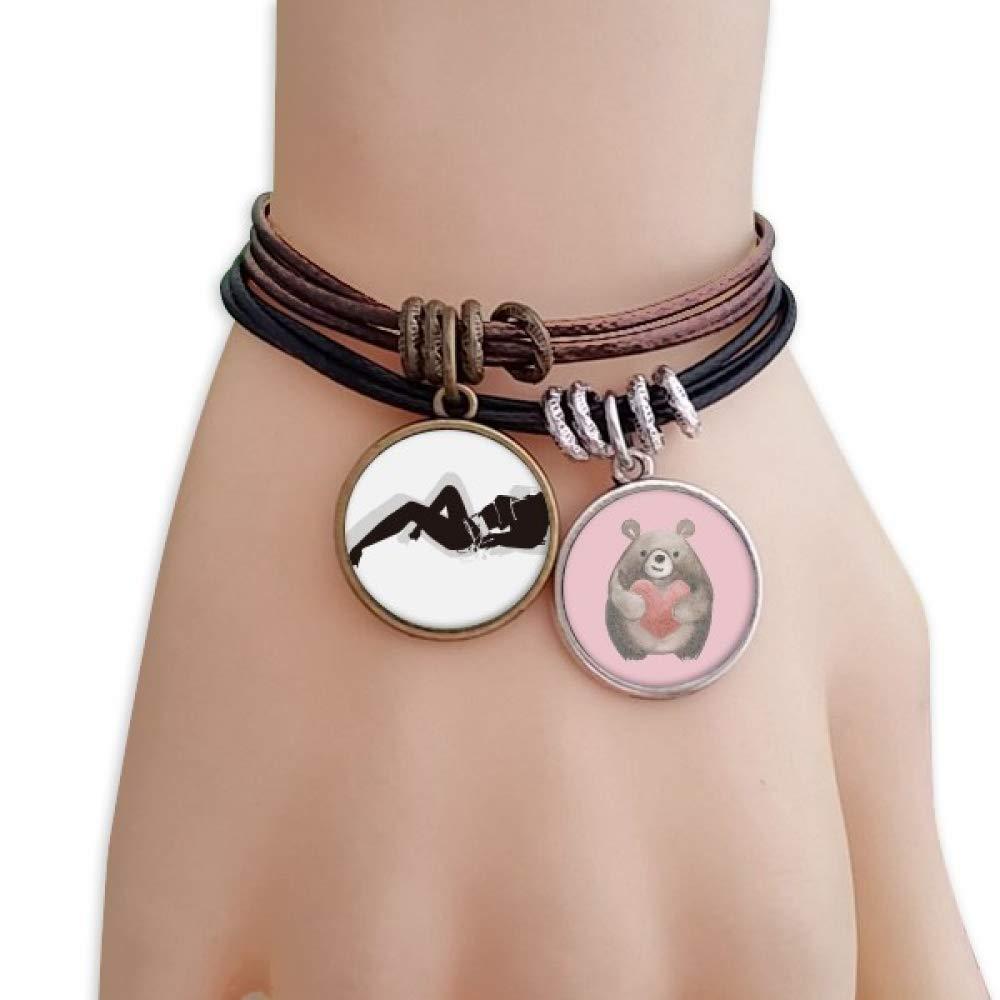 DIYthinker Hot Girl Girl Gal Silhouette Bracelet Rope Wristband Bear Heart Love Set