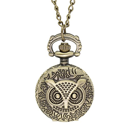 LightOnIt Vintage Cute Flying Owl Pocket Watch Pendant Necklace Round Old -