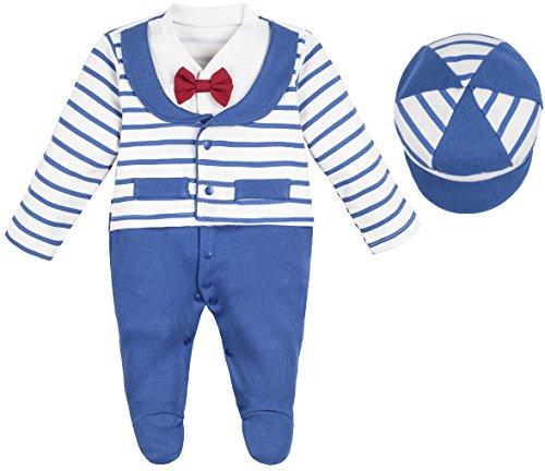 Lilax Baby Boy Newborn Stripe Footie with Hat 2 Piece Set 6-9 Months (Halloween Photo Shoot Ideas For Infants)
