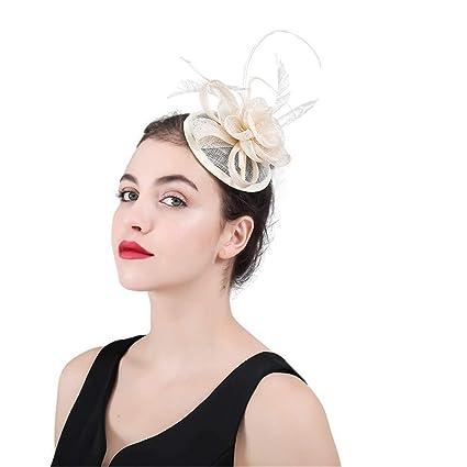Zhao Xiemao Flower Cocktail Tea Party Headwear Womens Fascinator Hat Bridal  Flower Feathers Wedding Caps Hair 79682c2187d