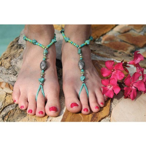 SunSandals Barefoot Sandals Foot Ankle Jewelry Anklets - Coral Reef - Medium (Coral Barefoot)