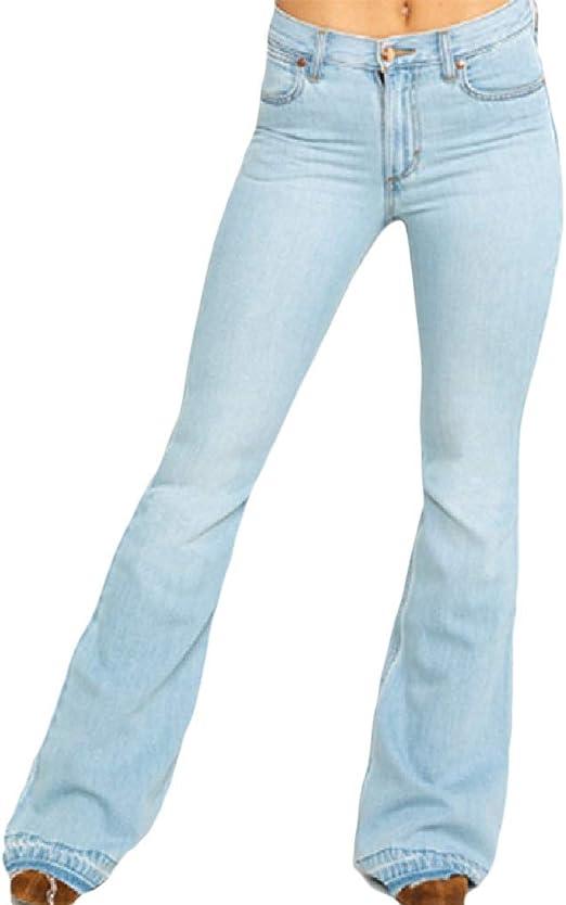 Tootess Womens Bell Bottom Pants High Waisted Vintage Plain Denim Jeans