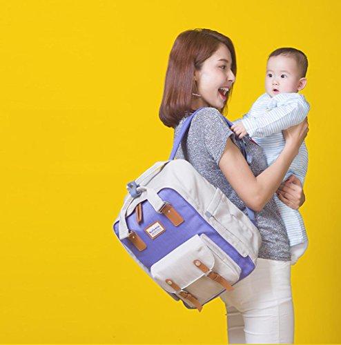HJXJXJX Bolsa de pañales con cinturón correas cambiador de almohadilla y aislamiento de bolsillo para mamá y papá Wide Open diseñador bebé pañal mochila bolsa de viaje , Orange purple