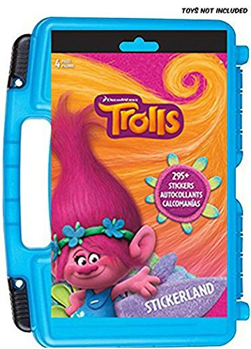 Official DreamWorks Trolls Sticker Book + Mini Figures Compatible Storage Organizer. Stores Up to 100 Trolls Mini Figures. Customize Your Children's Storage Box With This 4 page Sticker - Customize Sunglasses