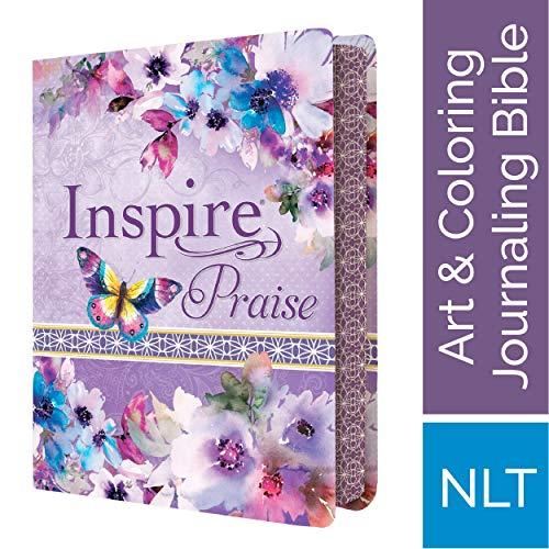 Tyndale NLT Inspire PRAISE Bible (LeatherLike, Purple Garden): Coloring Bible-Over 500  Illustrations to Color and Creative Journaling Bible Space, Religious Gifts That Inspire Connection with God (Sunday Back Sticker Taking)